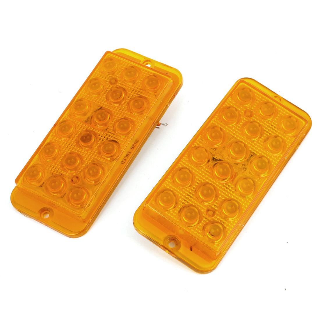 2 Pcs Adhesive Back Yellow 18 LED Plastic Decorative Light for Car