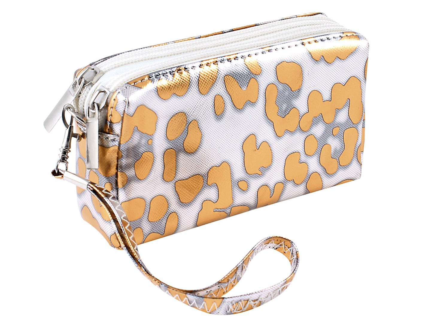 Lady Leopard Prints Orange Zip up Closure Wrist Bag Purse Wallet Coin