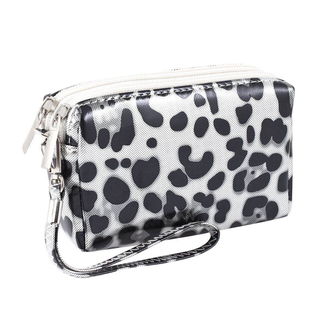 Lady Black Leopard Pattern Zip Up Nylon Change Wallet Coin Purse Pouch
