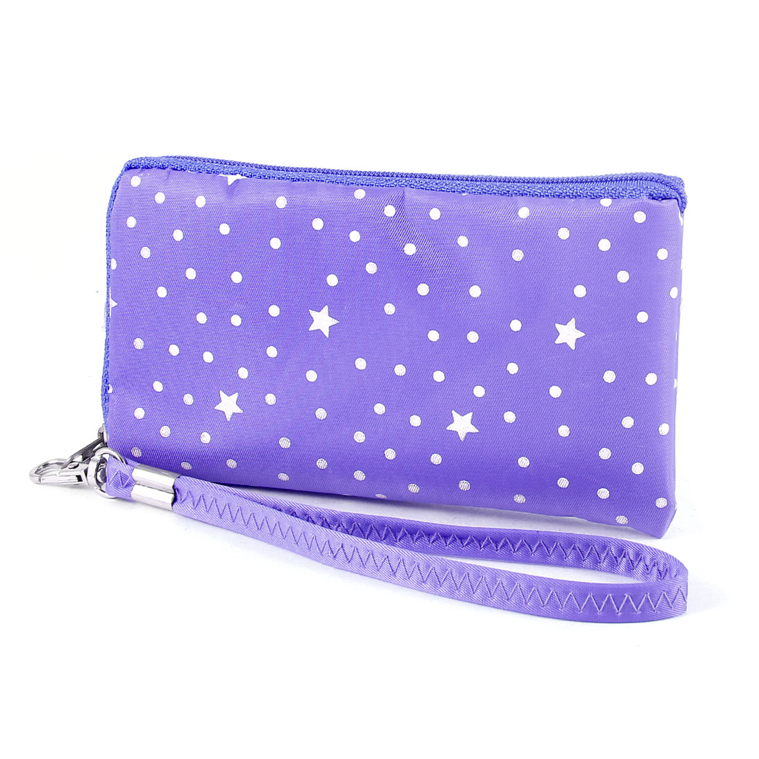 Dots Design Zip Keys Coins Purse Phone Bag w Hand Strap Purple