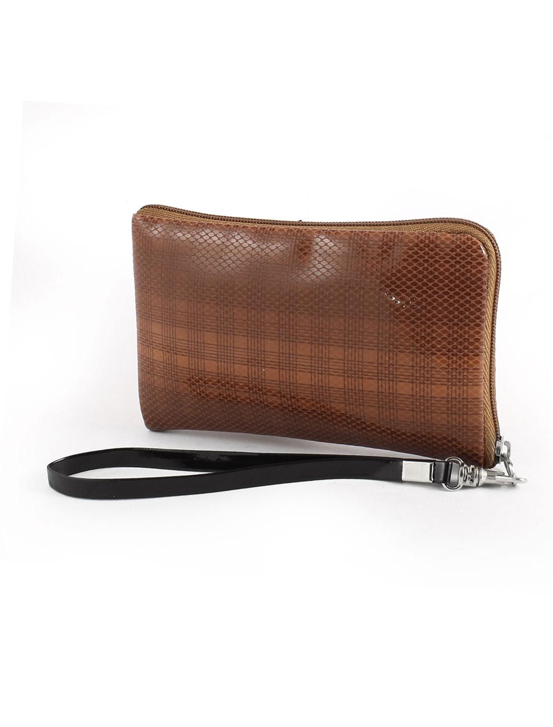 Brown Faux Leather Grid Print Detachable Strap Purse Pouch Bag Holder