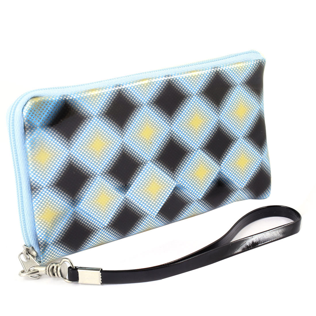 Blue Black Rhombus Pattern Zipper Closure Phone Purse Holder w Strap