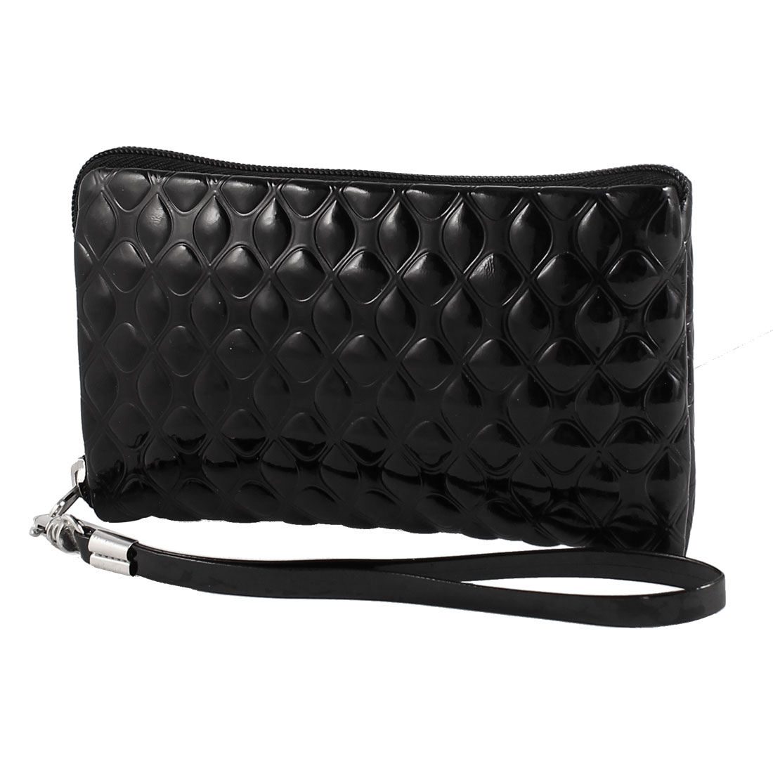 Black Faux Leather Zip Up Detachable Strap Pouch Purse Bag Holder