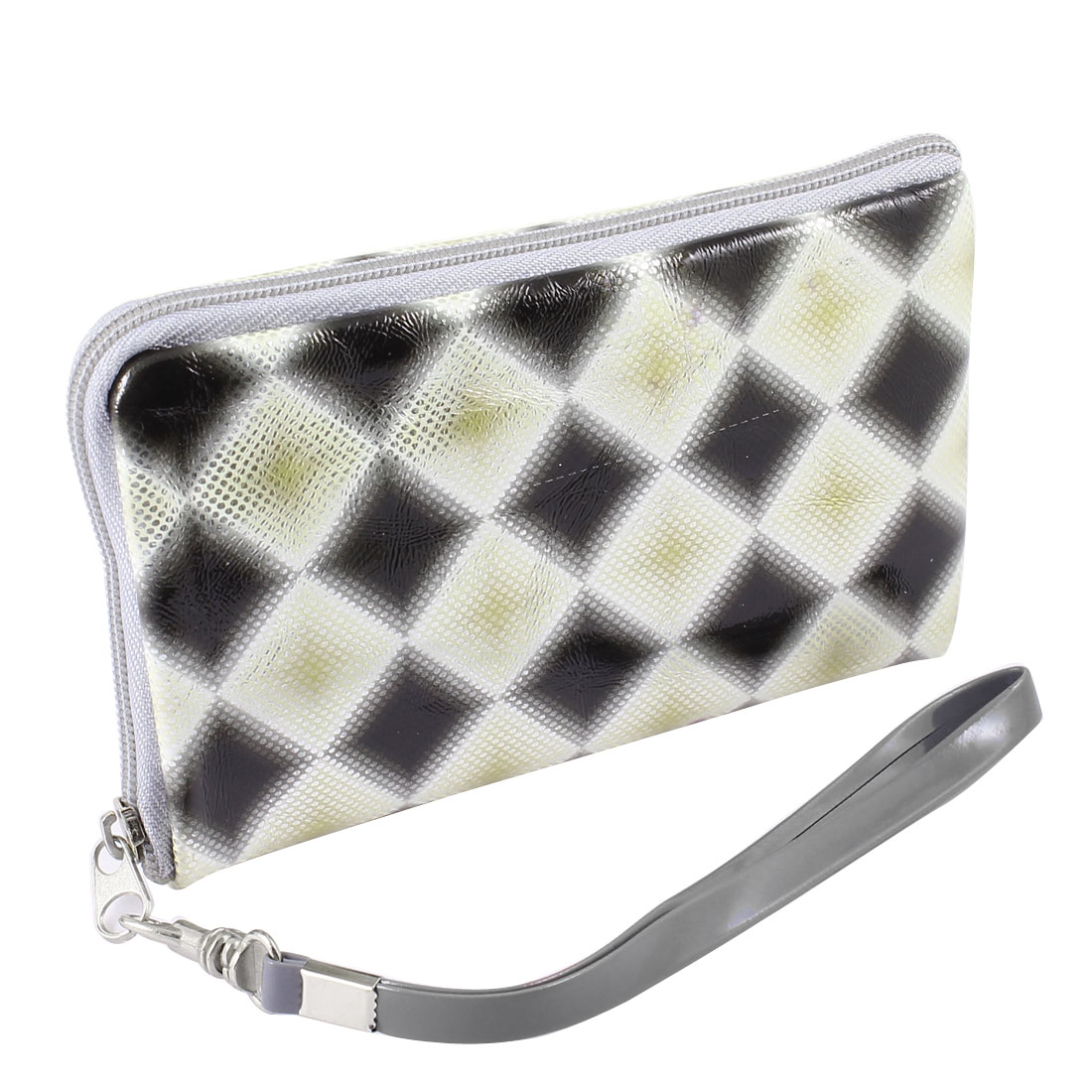 Beige Black Rhombus Pattern Zipper Closure Purse Bag Holder for Cell Phone