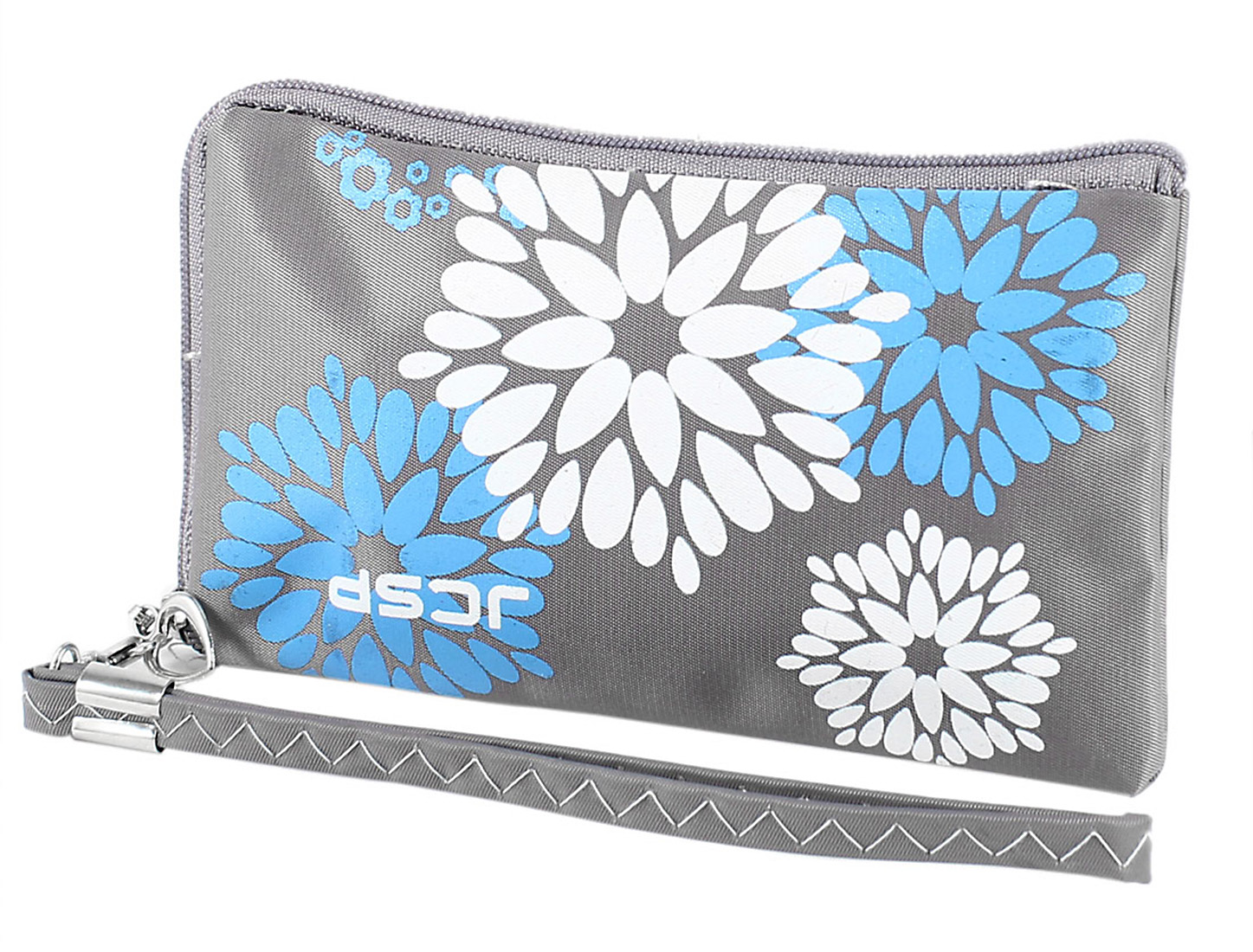 Flower Print Polyester Zip Closure L Shaped Pouch Purse Wallet Gray