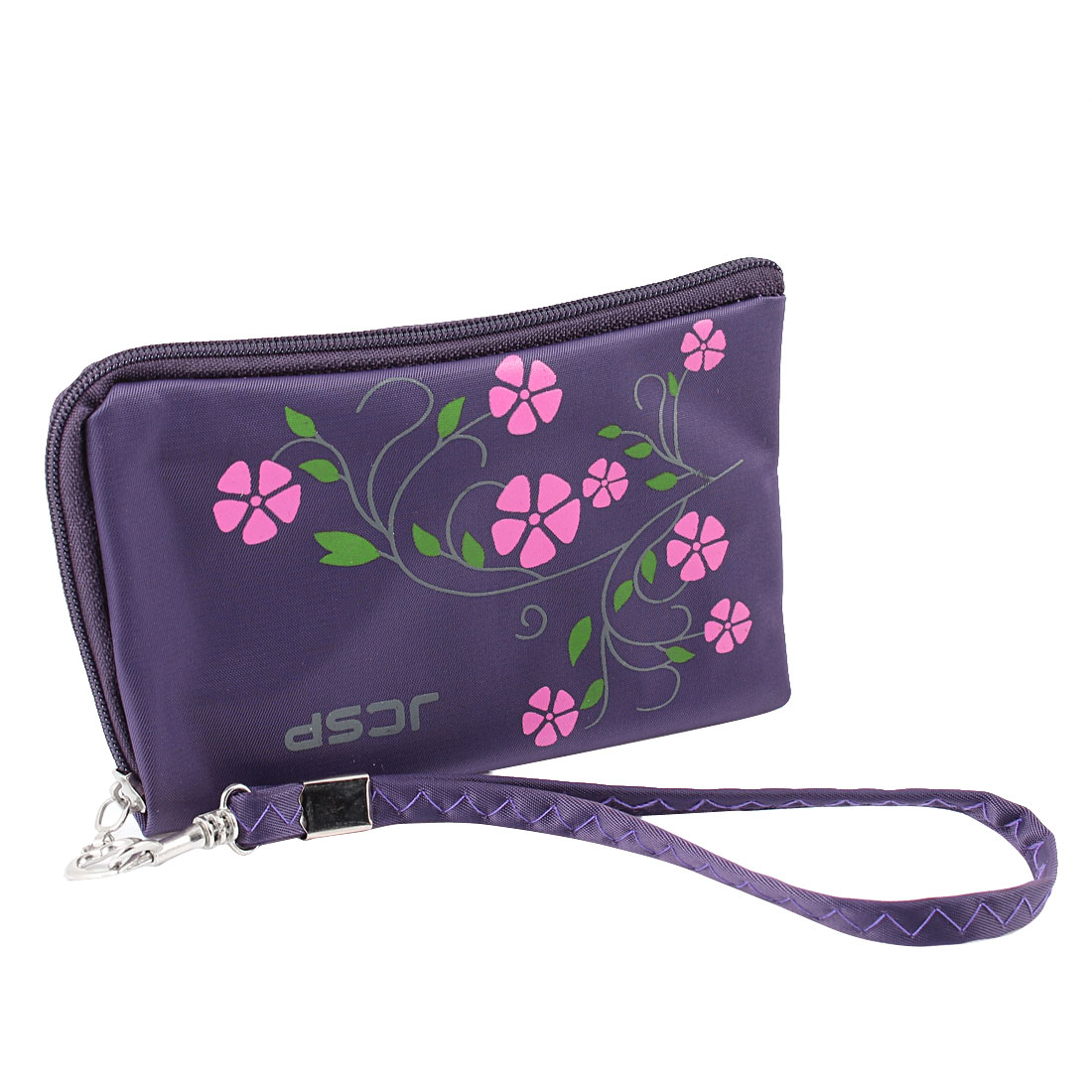 Cell Phone L Shaped Zipper Closure Purple Polyester Pouch Purse Bag w String