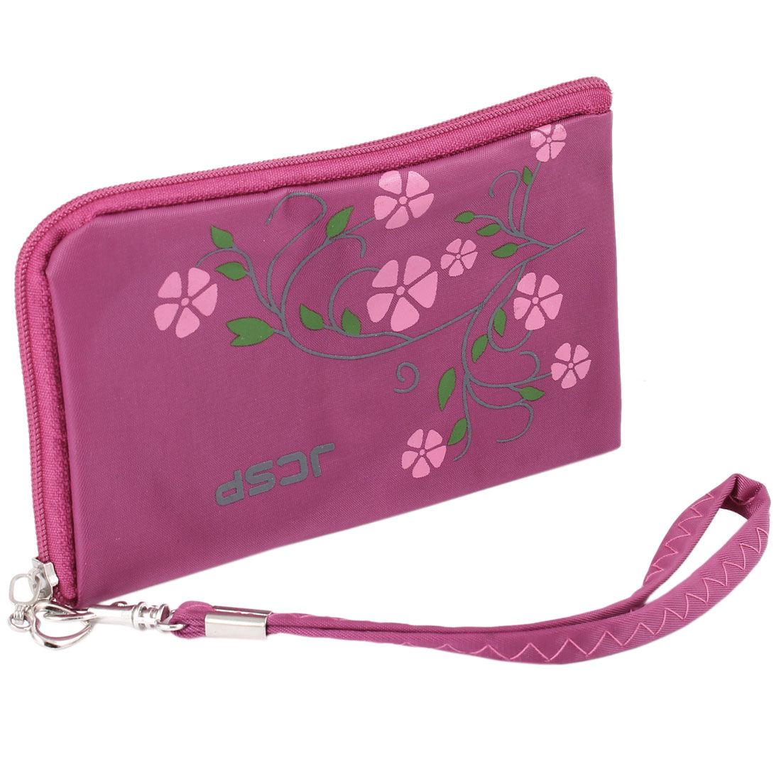 Mobile Phone Fuchsia L Shape Zipper Closure Portable Purse Holder Bag