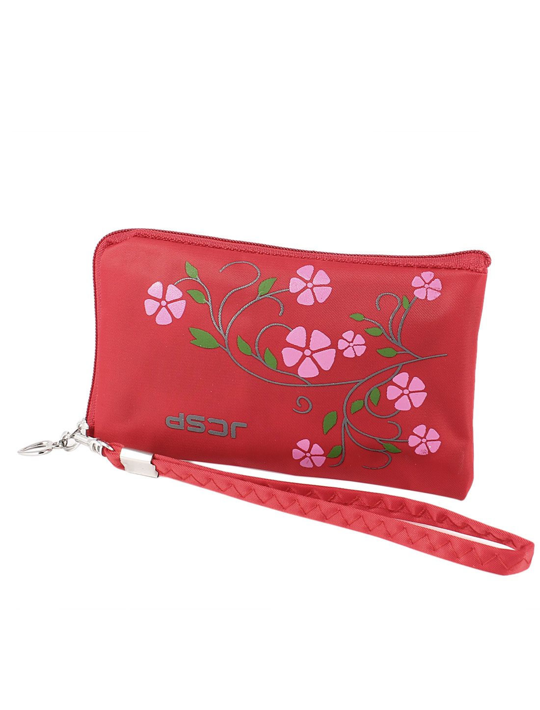 Floral Leaves Print L Shaped Zip Up Phone Purse Pouch Holder w Strap Red