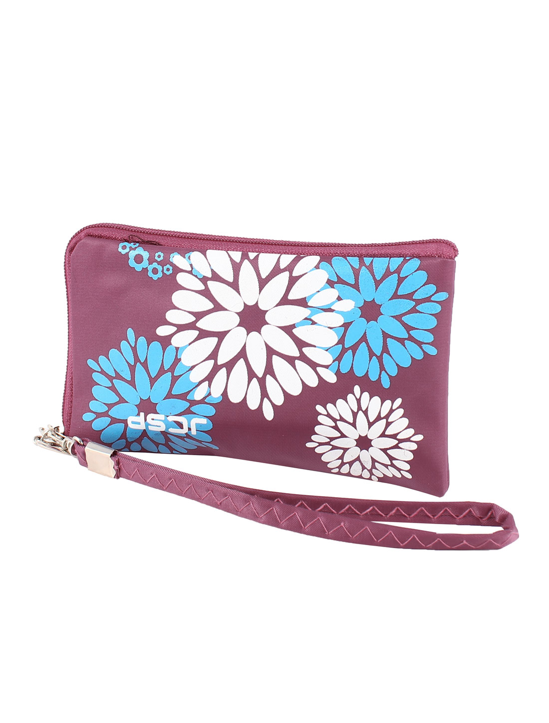 Flower Pattern Detachable Strap Zipper Pouch Purse Bag Holder Amaranth