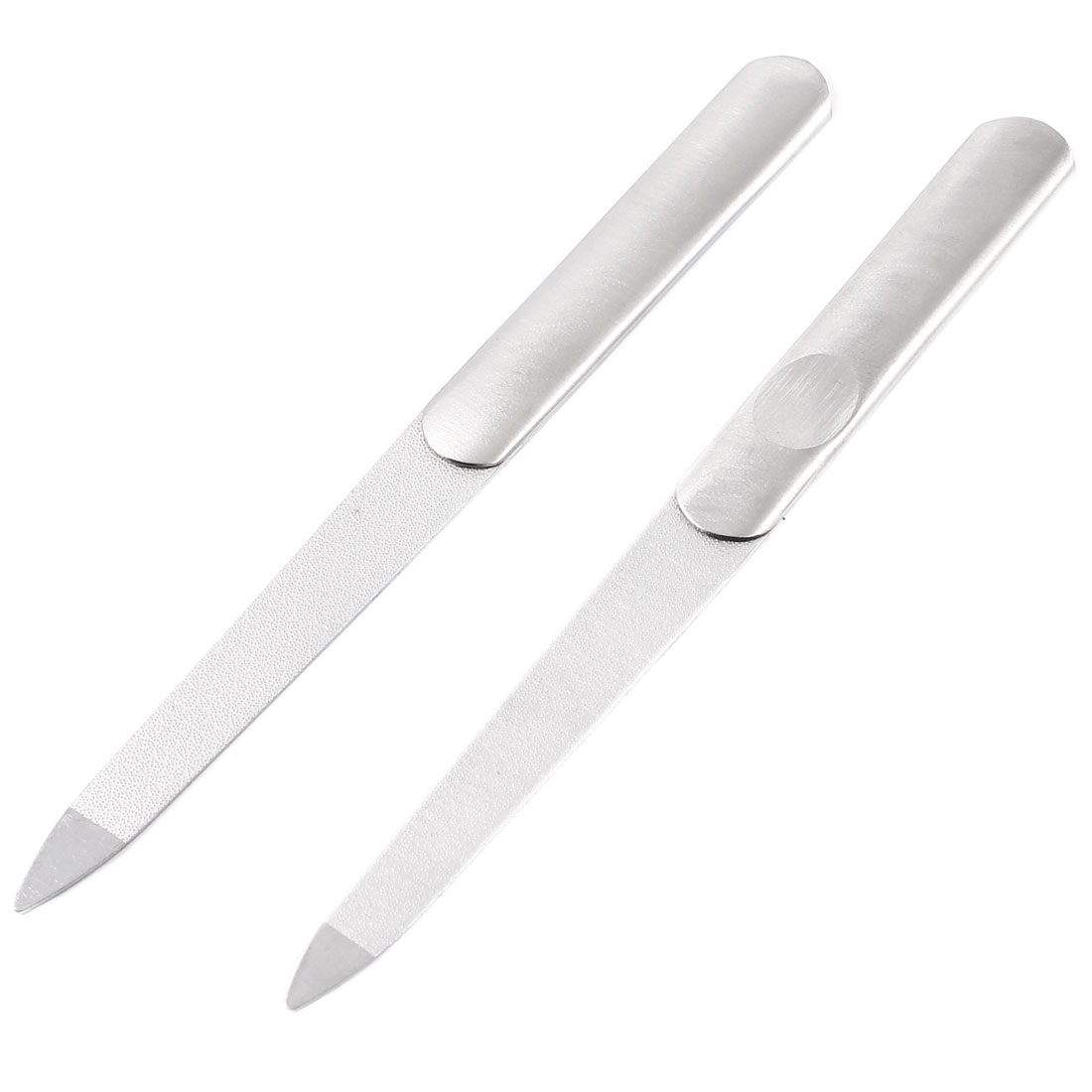 Beauty Tool Silver Tone Double Sides Metal Polishing Trimmer Nail File 2 Pcs