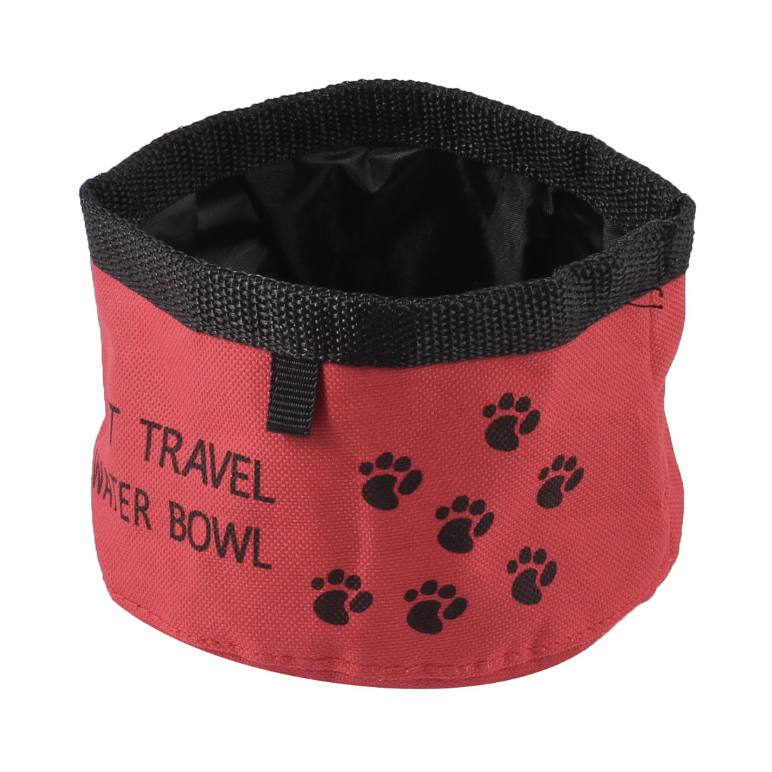 Camping Travel Pet Dog Cat Puppy Folded Feet Pattern Water Dish Feed Bowl Red Black 15cm Dia
