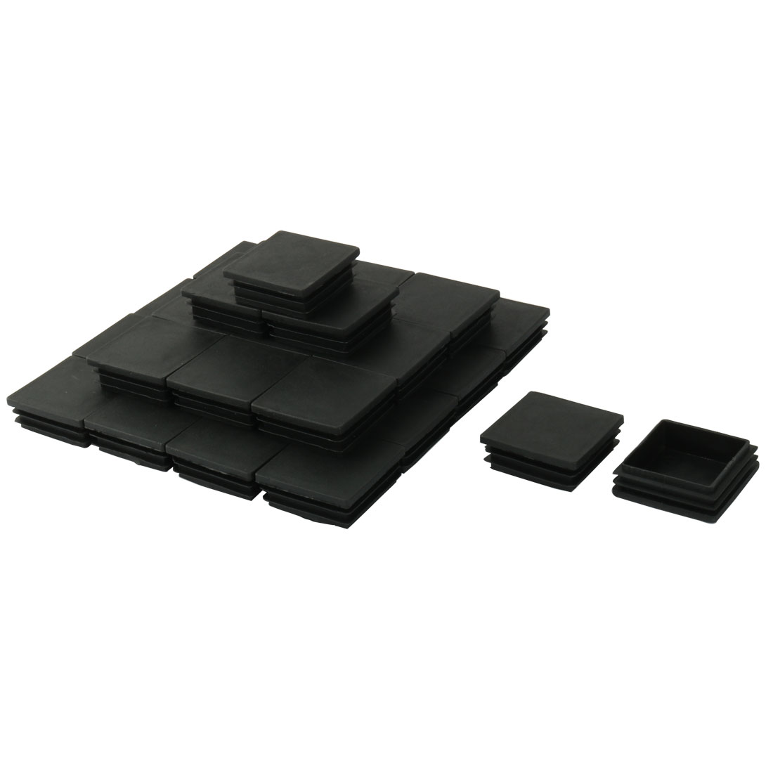 Household Plastic Square Furniture Table Chair Legs Tube Insert Cap Black 30 Pcs