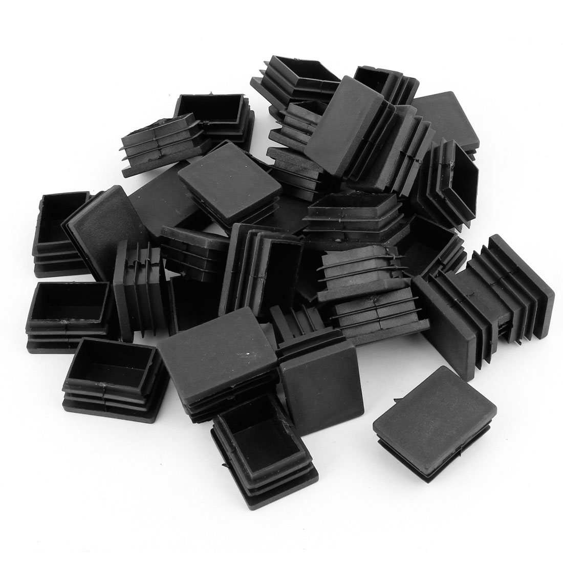 40mm x 30mm Plastic Rectangle Tube Inserts End Blanking Caps Black 40 Pcs