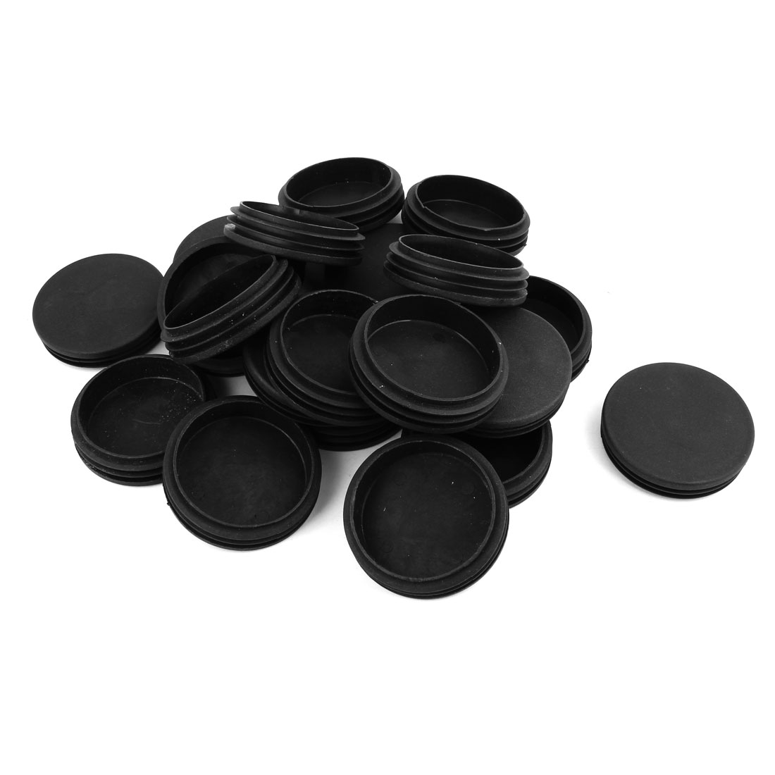 74mm Dia Plastic Round Tube Inserts End Blanking Caps Black 20 Pcs