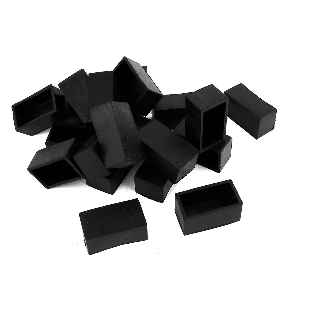 10 Pcs Black Rubber 25mmx50mm Rectangular Chair Table Foot Cover Protector Furniture Leg End Caps