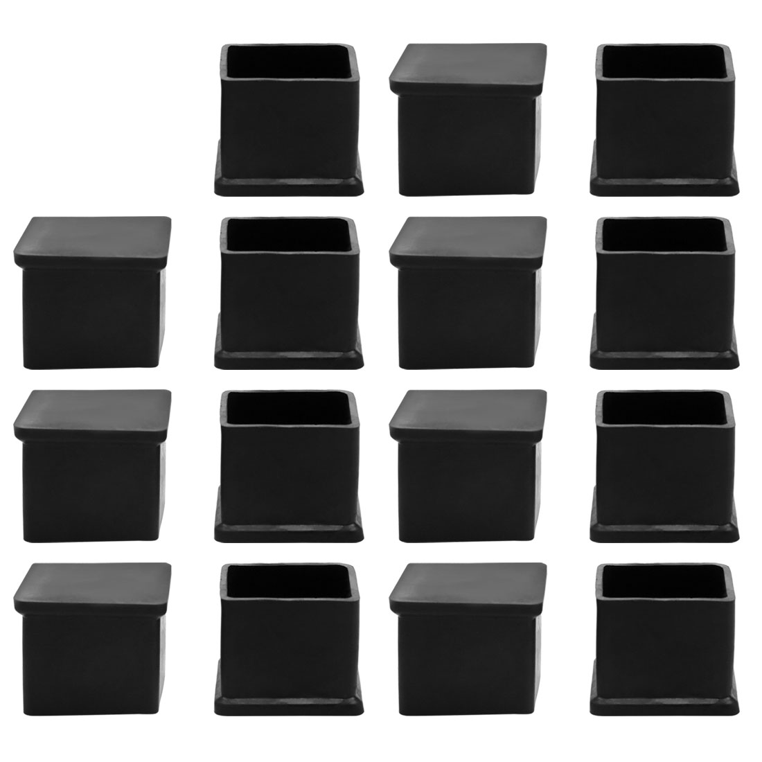 15Pcs Black Rubber 30mmx30mm Square Chair Foot Cover Protector Chair Leg Caps