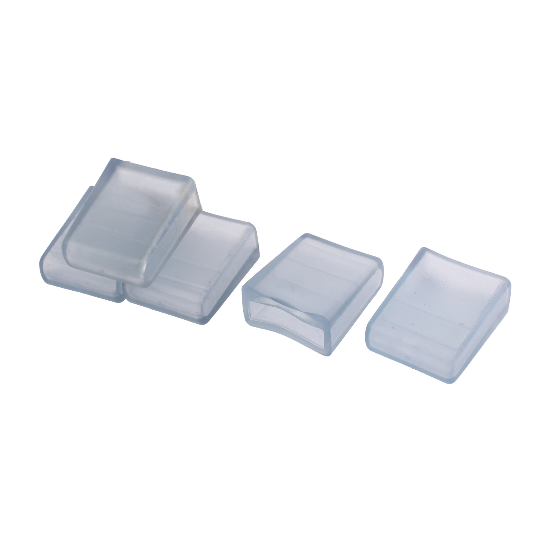 5 Pcs Clear Blue PVC 30mm x 10mm Furniture Table Desk Leg Foot Covers Caps