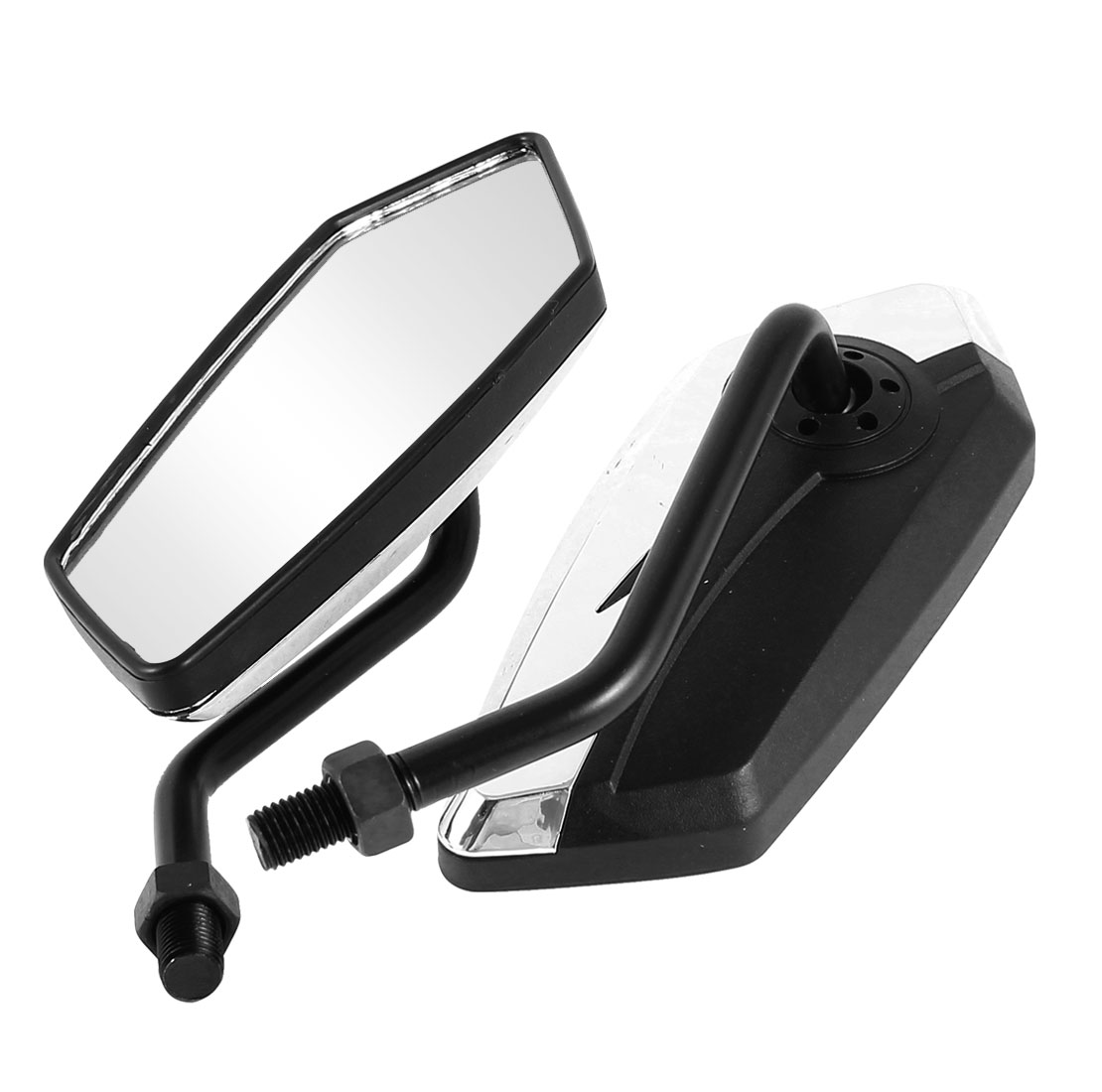 2 Pcs Black Silver Tone Polygon Shaped Rearview Mirrors for Motorcycle Motorbike