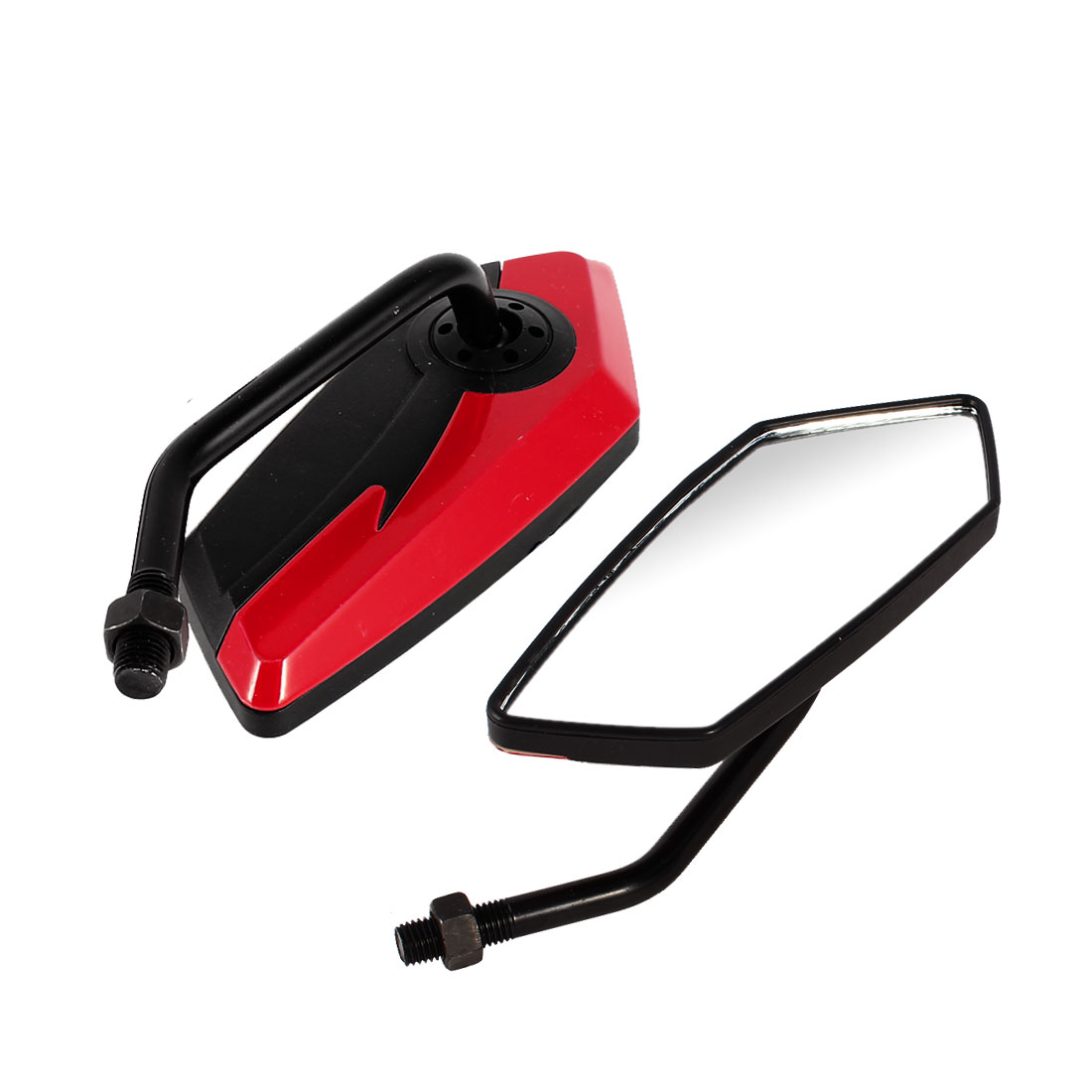 2 Pcs Black Red Shell Adjustable Rearview Motorcycle Blind Spot Mirrors