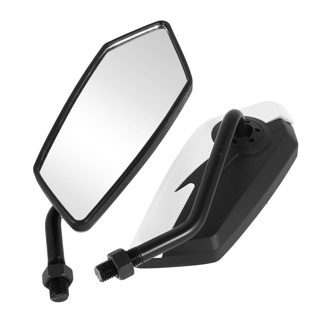 2 Pcs Black White Plastic Casing Rearview Mirror for Motorcycle Motorbike