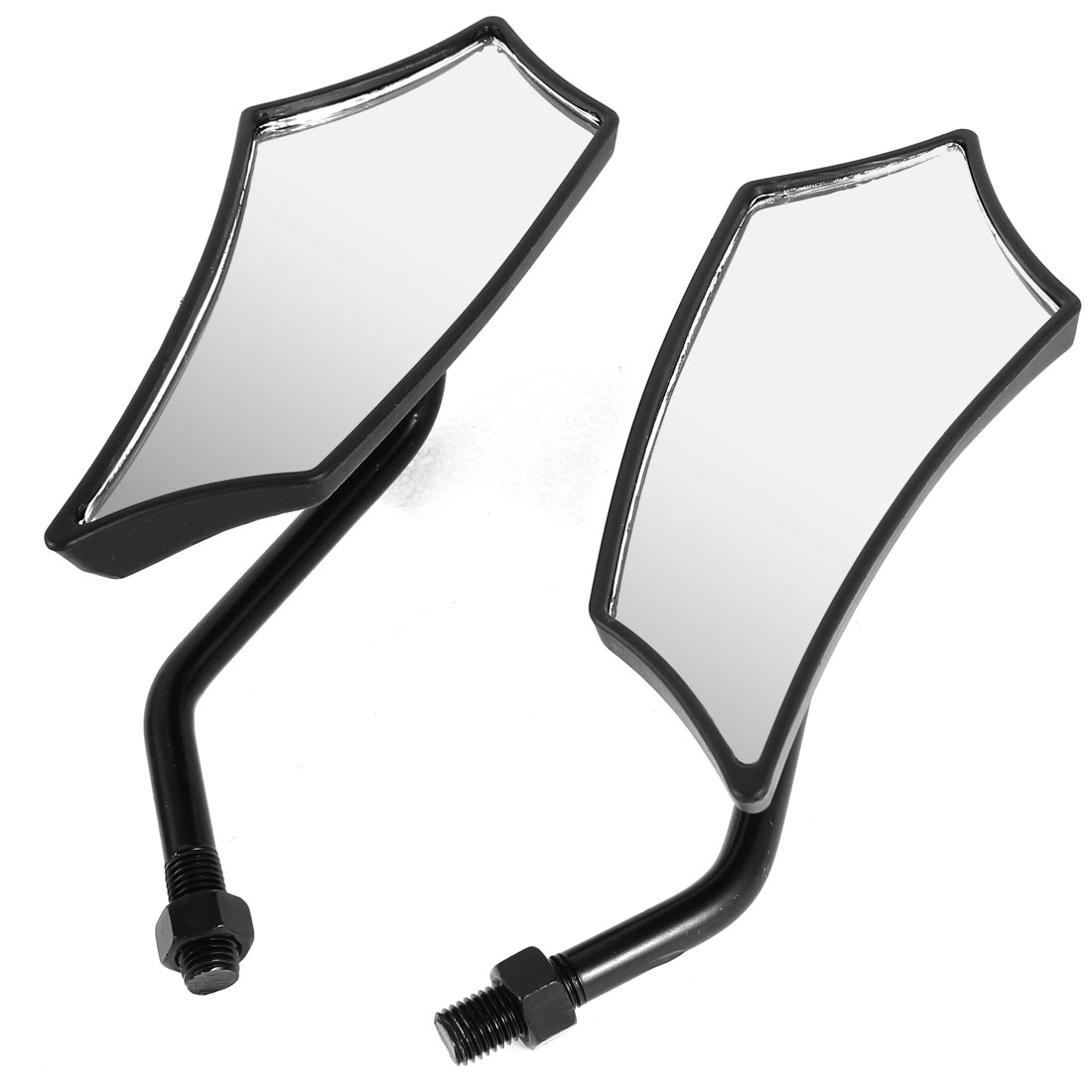 2 Pcs Black Plastic Shell Rearview Mirrors for Motorcycle