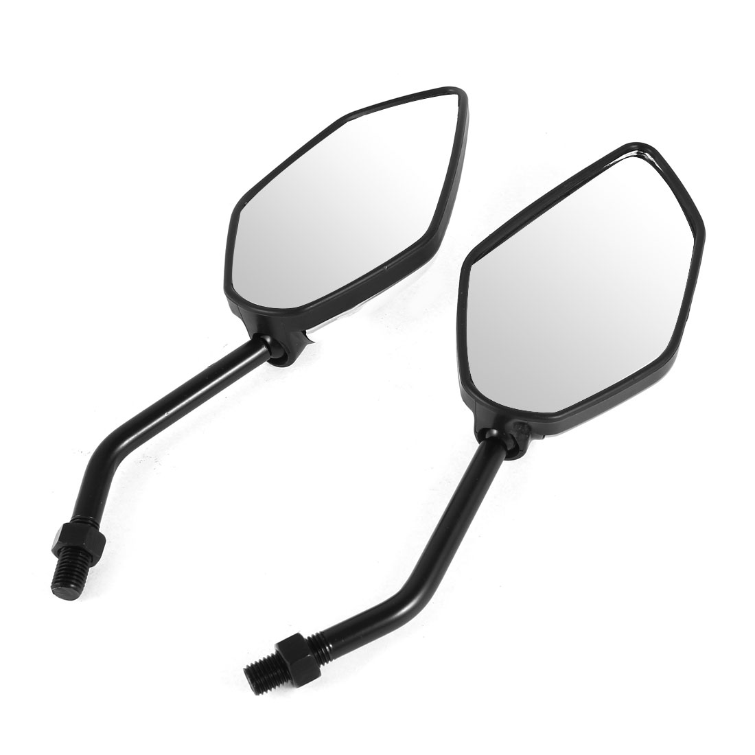 2 Pcs White Shell Motorcycle Adjustable Angle Side Rearview Blind Spot Mirrors