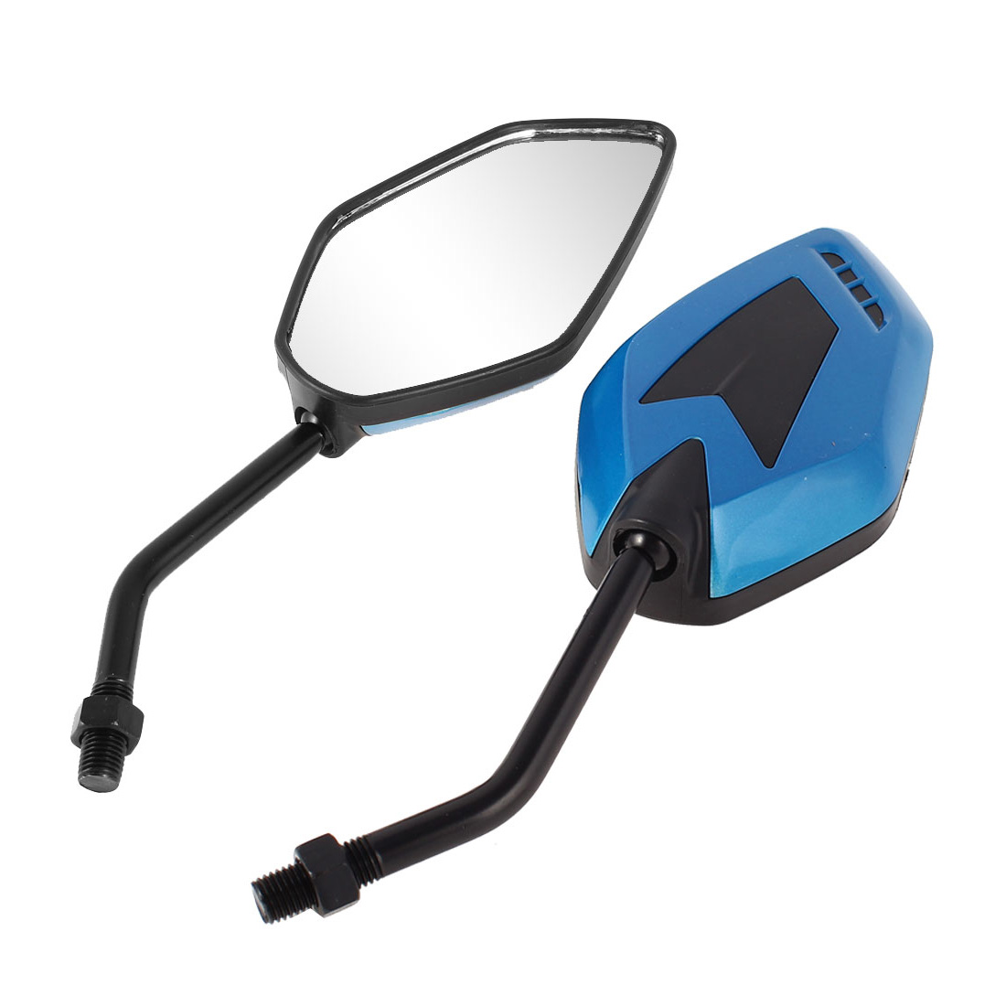 2 Pcs Blue Plastic Shell Safety Blind Spot Rearview Mirror for Motorbike