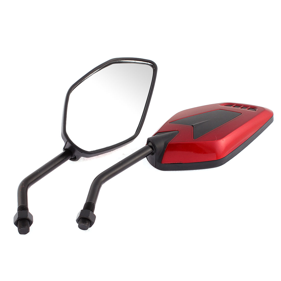 2 Pcs Red Plastic Shell Adjustable Side Rearview Blind Spot Mirrors for Motorcycle