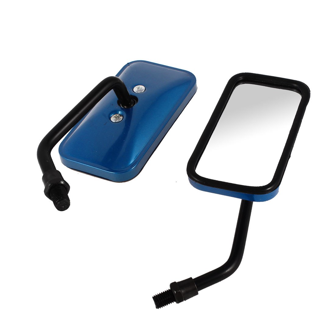 2 Pcs Blue Plastic Casing Rectangle Motorcycle Side Rearview Blind Spot Mirror