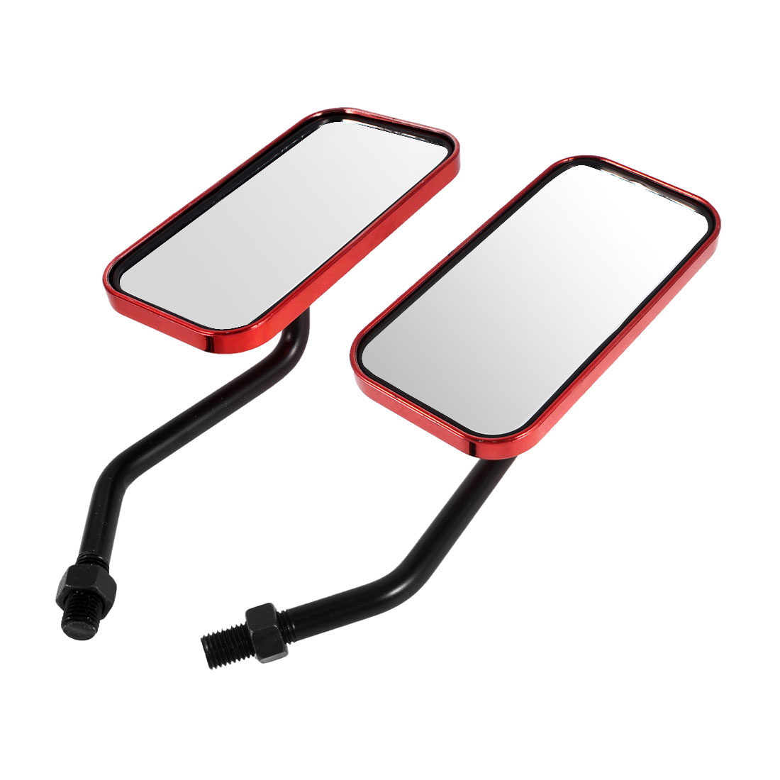 2 Pcs Red Plastic Casing Motorcycle Side Rearview Blind Spot Mirror
