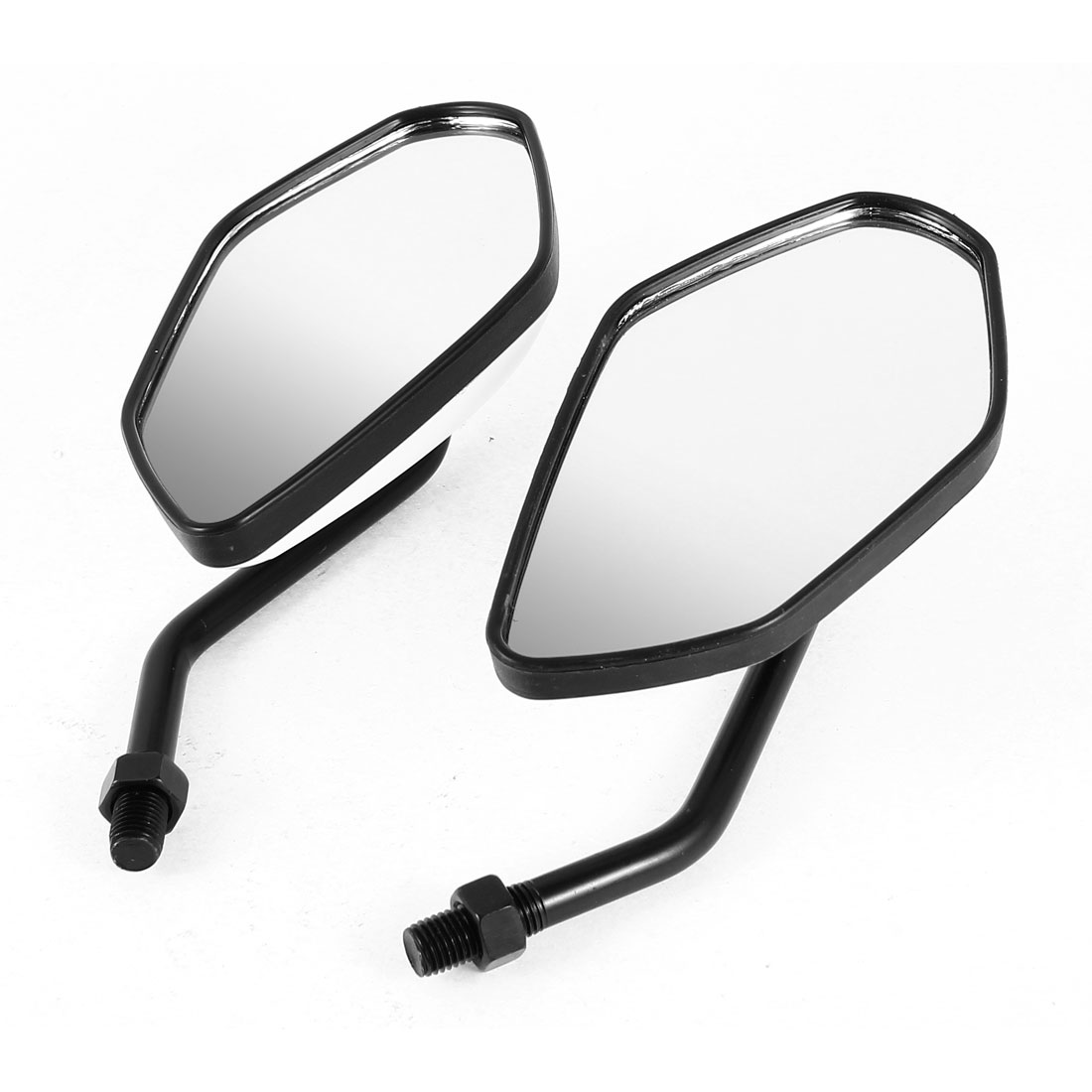 2 Pcs White Black Adjustable 360 Degree Wide Angle Blind Spot Rearview Mirror for Motorbike