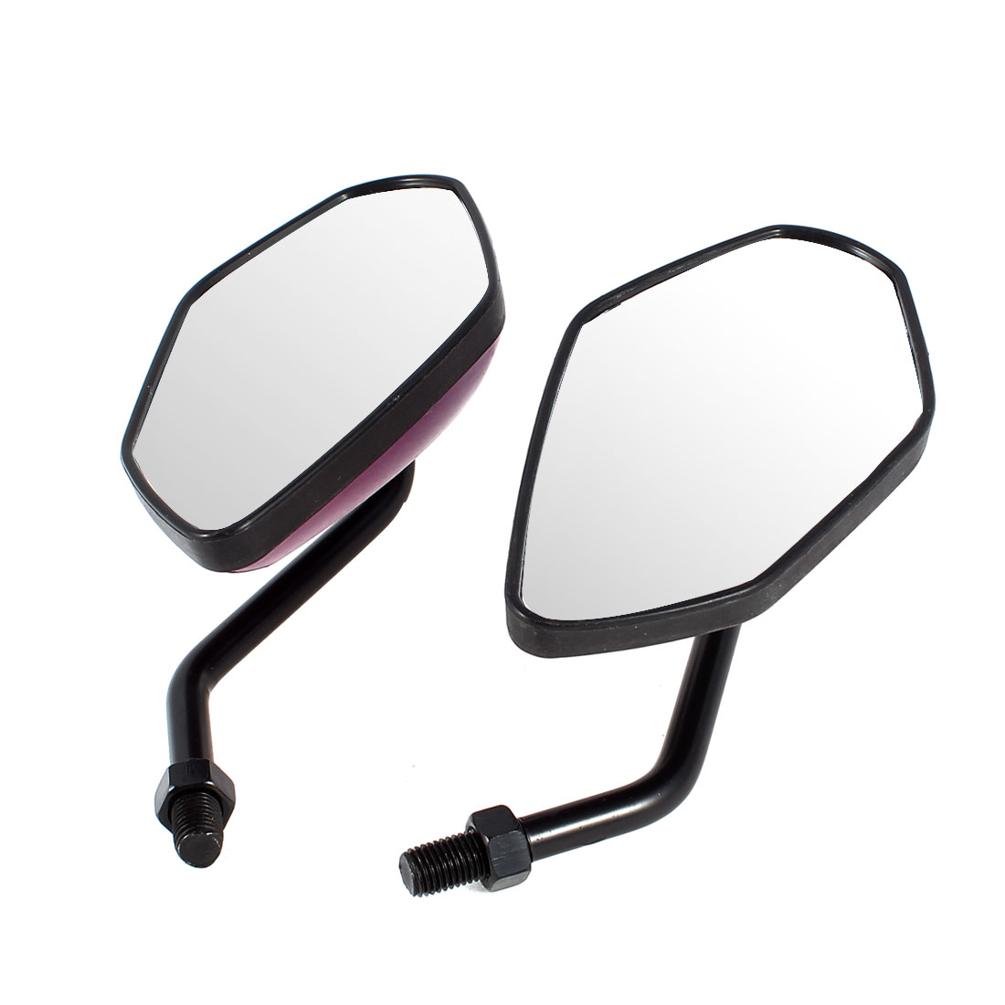 2 Pcs Black Purple Fire Prints Motorbike Wide Angle Blind Spot Rearview Mirror