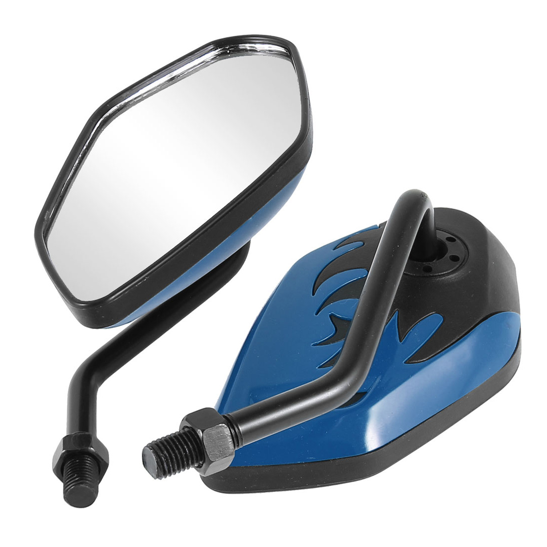 2 Pcs Motorcycle Motorbike Blind Spot Blindspot Rear View Mirror Black Blue
