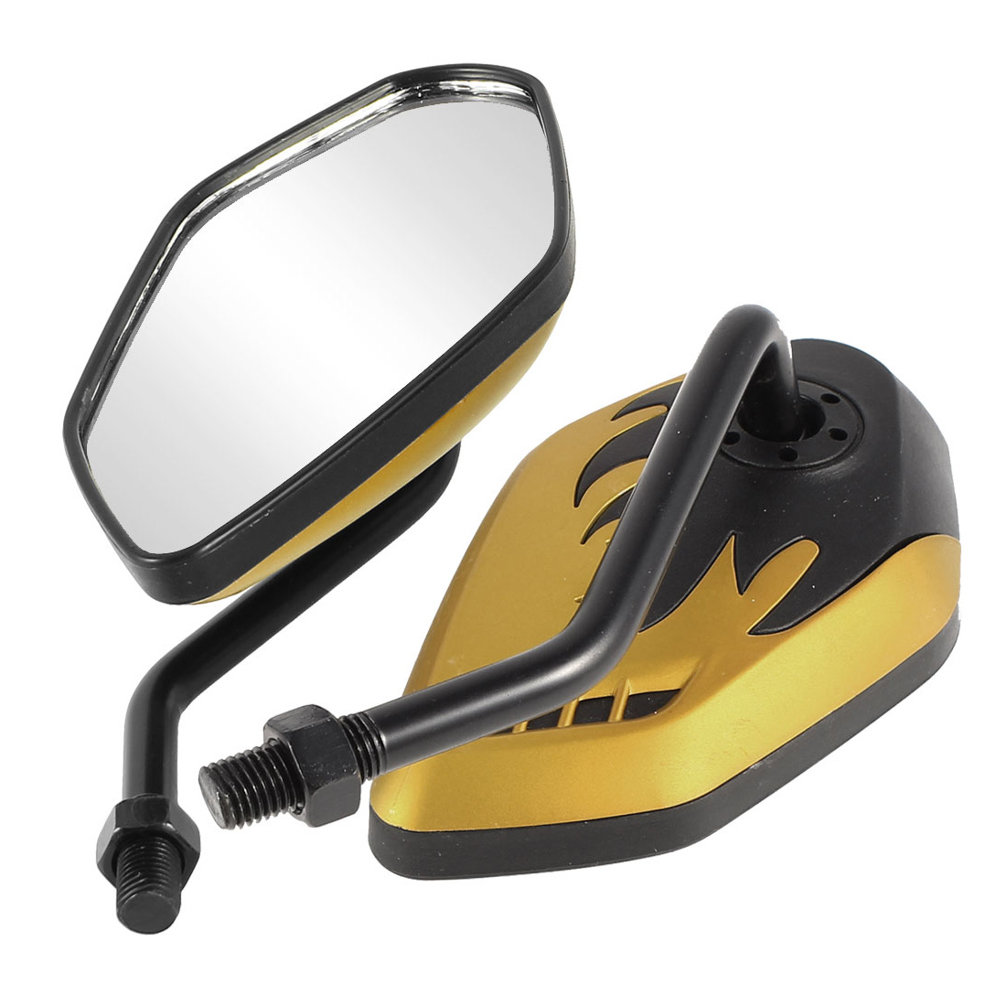 2 Pcs Black Gold Tone Fire Prints Motorbike 360 Degree Wide Angle Blind Spot Rearview Mirror