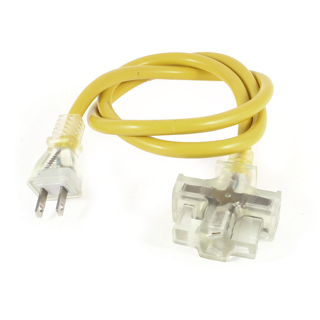 US Plug AC 125V 15A AU US Socket Power Cord 3 Outlet Splitter Yellow 1M