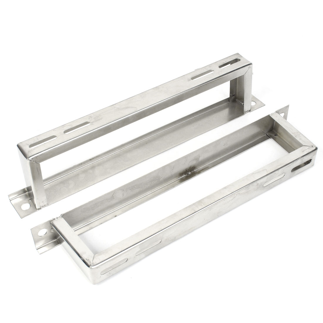 Air Conditioner Rectangle Stainless Steel Hollow Out Bracket Support Stand 2 Pcs