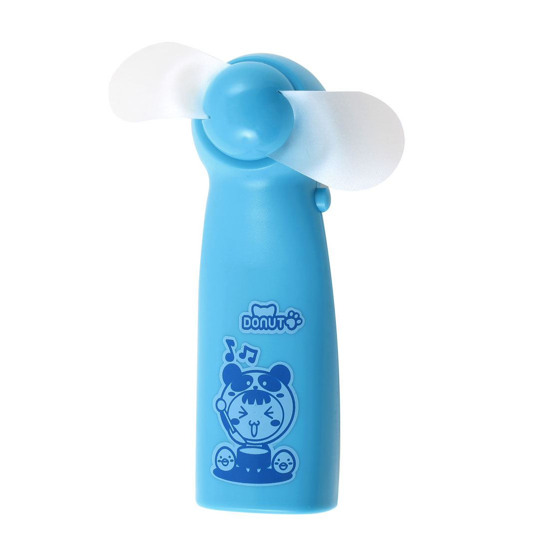 Portable Battery Powered Cartoon Pattern Soft Flabellum Super Mute Handheld Mini Cooling Fan Cooler Blue