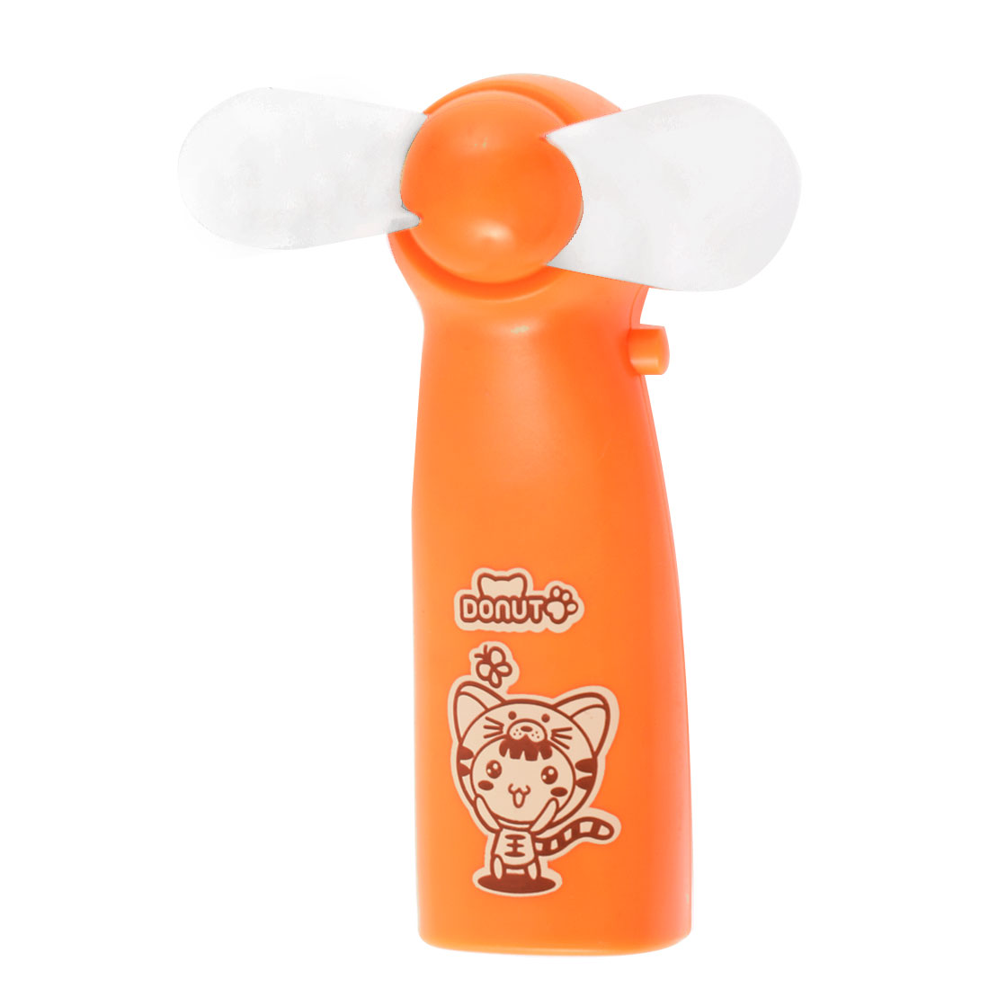 Portable Battery Powered Cartoon Pattern Soft Flabellum Super Mute Handheld Mini Cooling Fan Cooler Orange