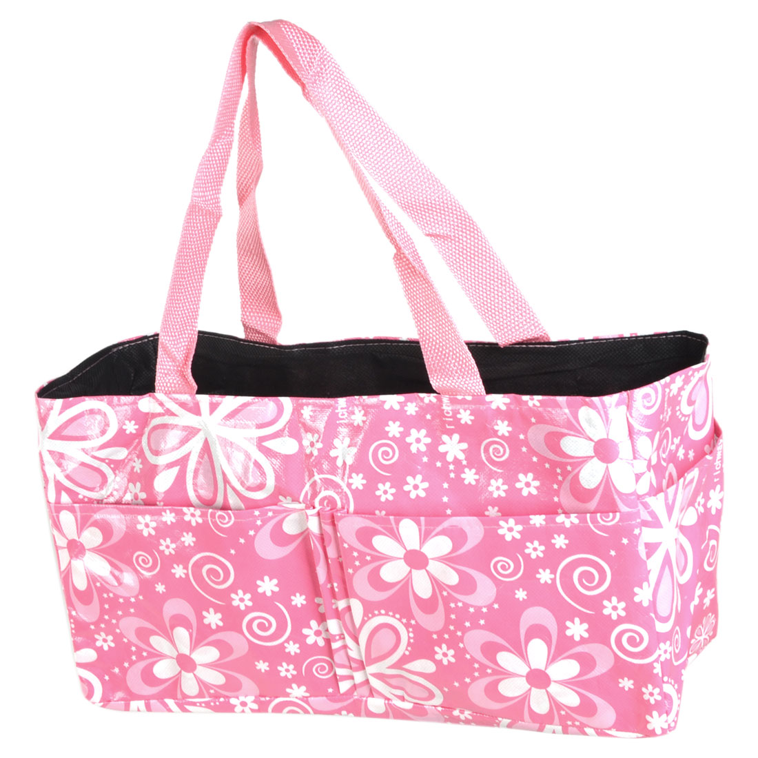 Home Mommy Pink Flower Pattern 7 Pockets Folding Storage Nappy Diaper Bag Tote Organizer