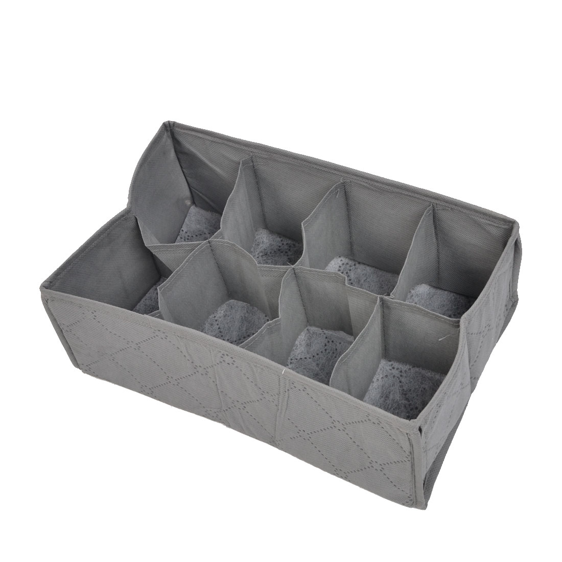 Home Gray Non-woven Fabric Rectangle Shaped 8 Slots Organizer Storage Bag