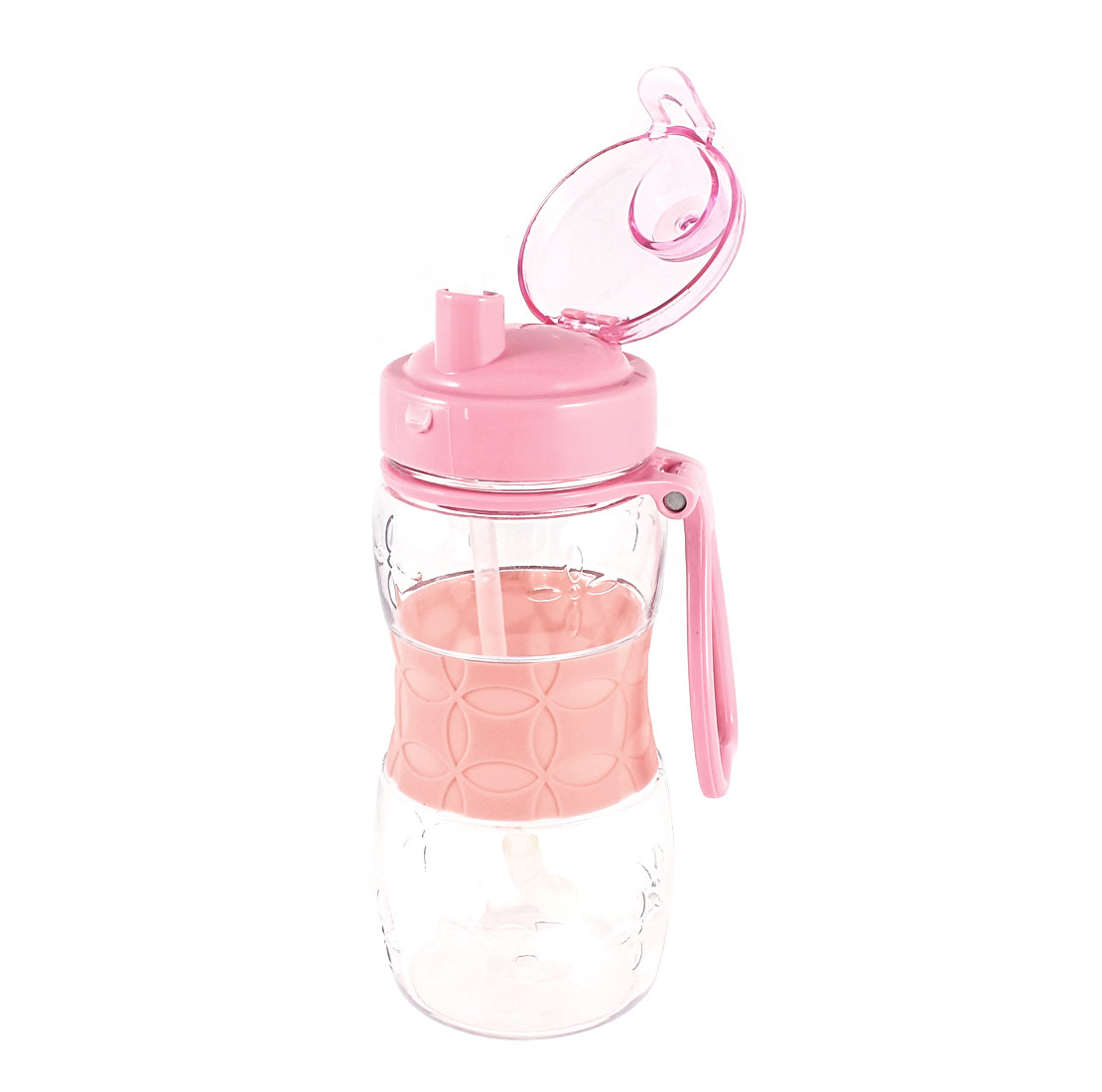 Stufent Camping Pink Clear Plastic Lid Water Drink Bottle Cup 400ml w Strap