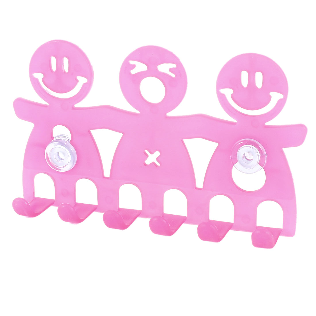 Fuchsia Hard Plastic Human Shaped Bathroom Suction Cup Toothbrush Holder