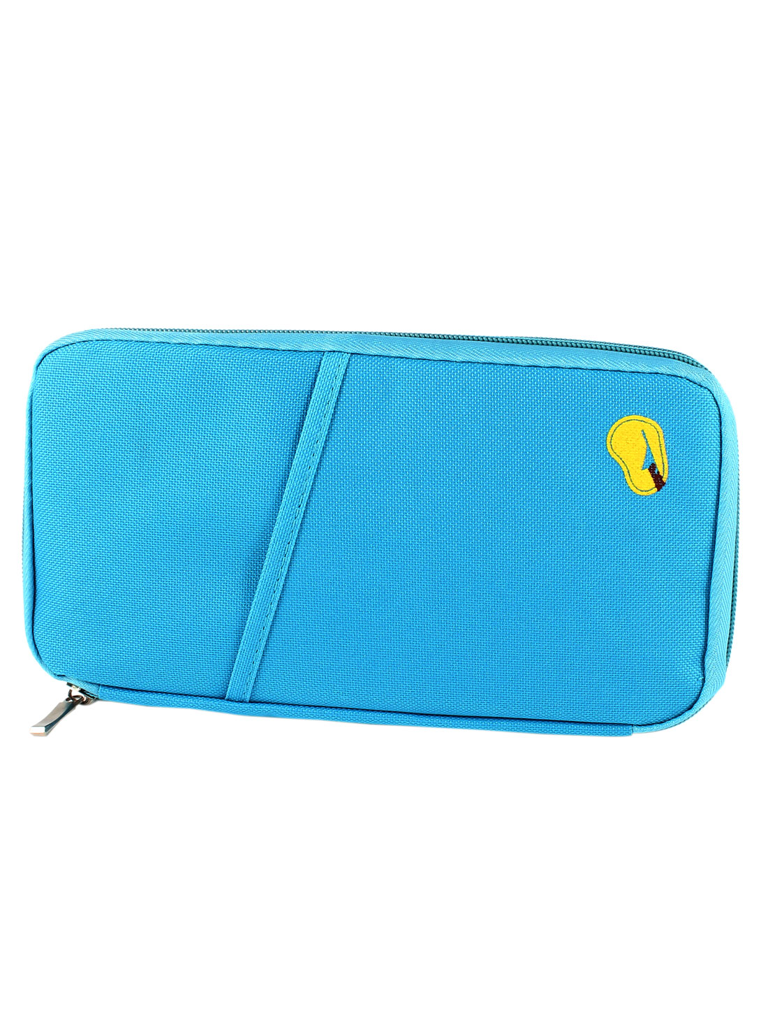 Lady Blue Nylon 12 Compartments Lining Zipper Closure Keyring Purse Bag