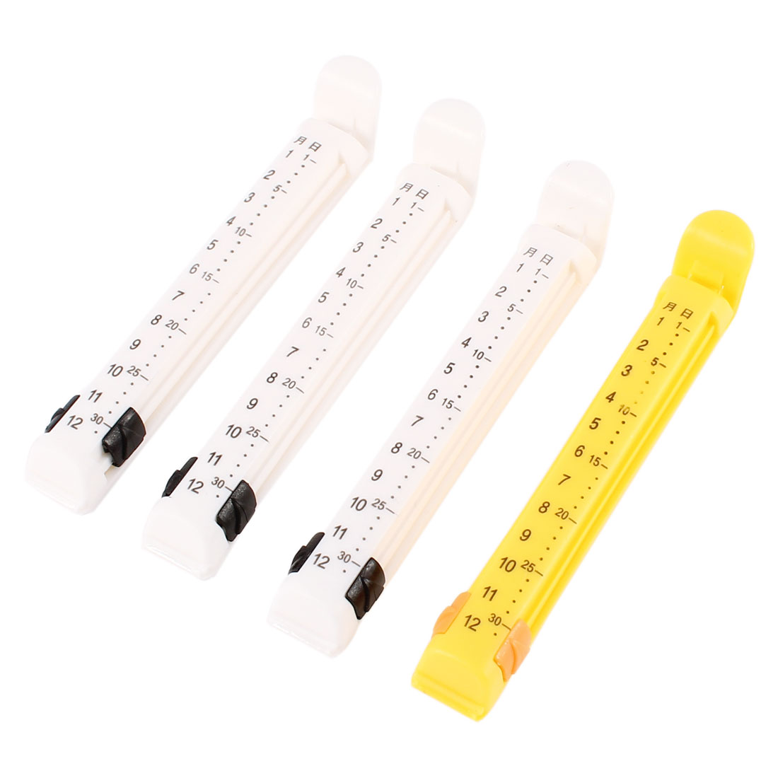 4 PCS Yellow White Plastic Date Recordable Food Storage Seal Bag Clip Clamp