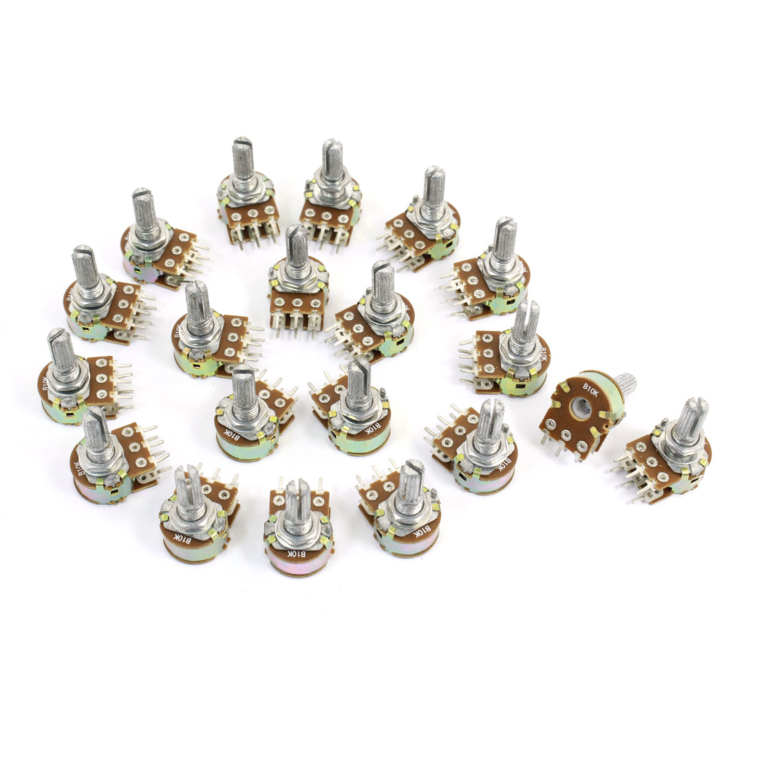 20 Pcs B10K Ohm 20mm Knurled Shaft Adjust Double Linear Potentiometers AC250V