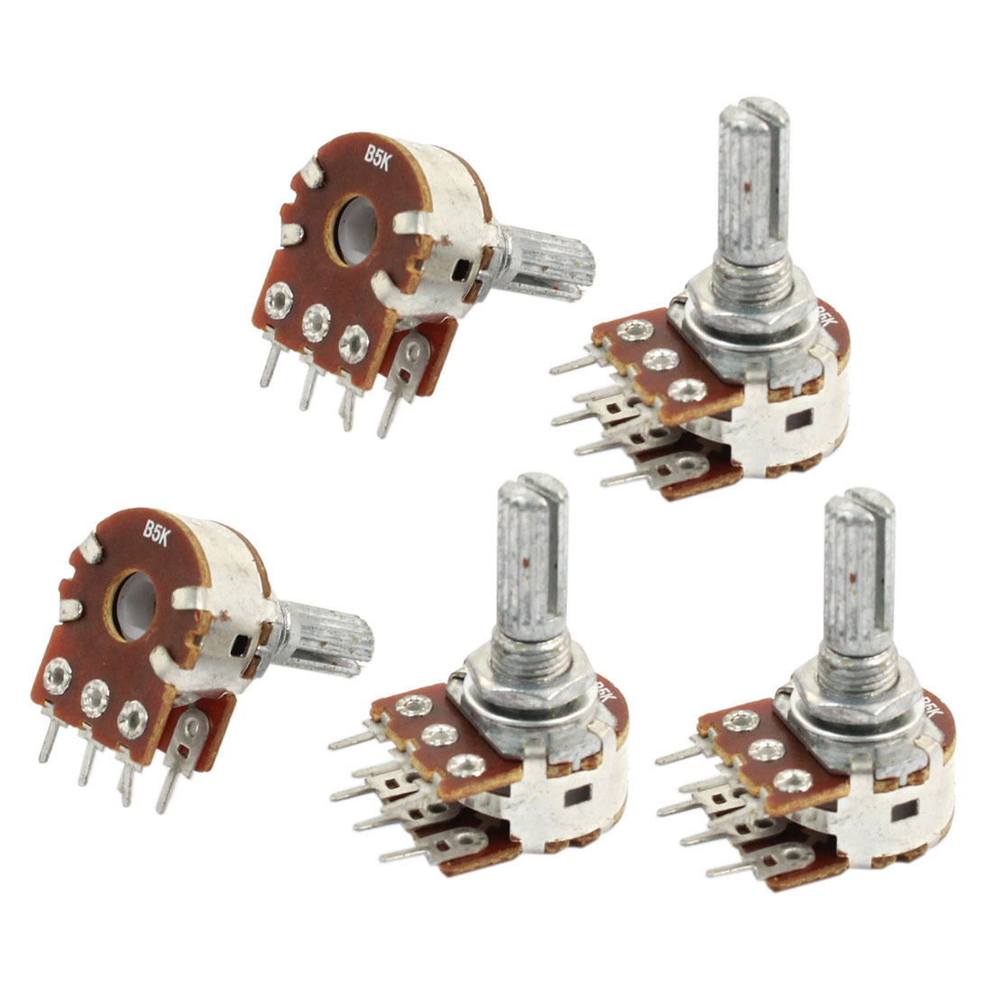 5 Pcs B5K Ohm Knurled Shaft Adjust Double Linear Potentiometers AC 250V