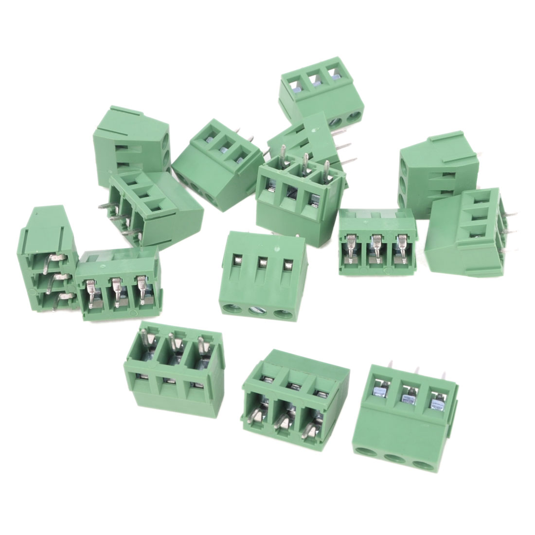 15Pcs 300V 10A 5mm Pitch 3 Poles Poles PCB Screw Terminal Block Connector Male Green