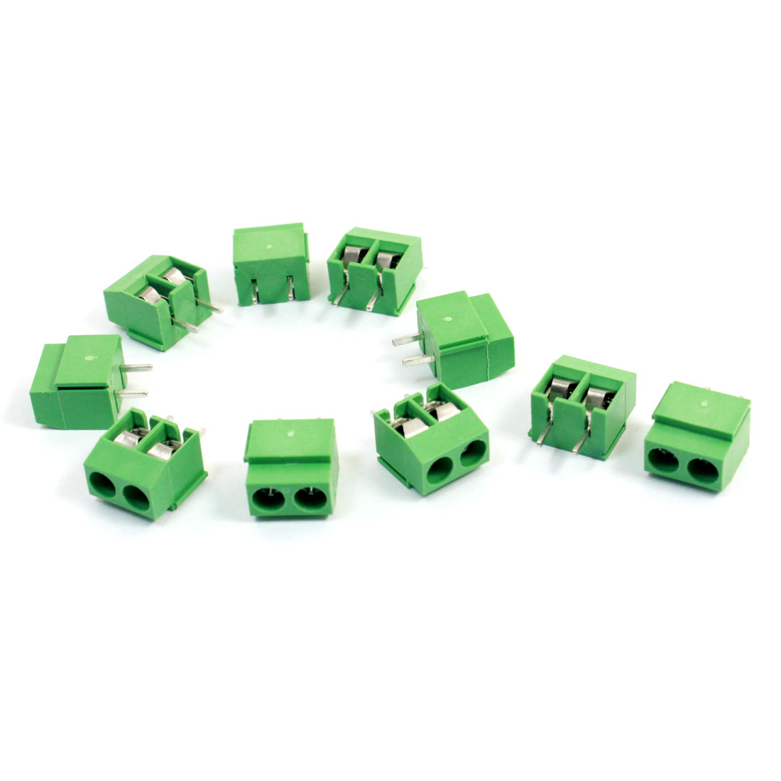 10Pcs 126-2P 2 Terminals 5mm Pitch Screw Terminal Block 300V 10A
