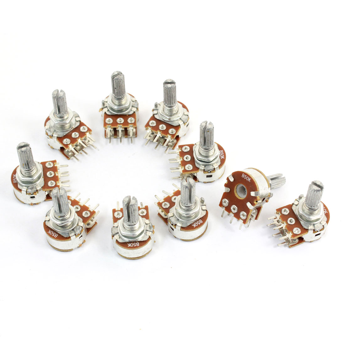 10 Pcs B50K Ohm Knurled Shaft Adjustable Linear Potentiometers AC 250V