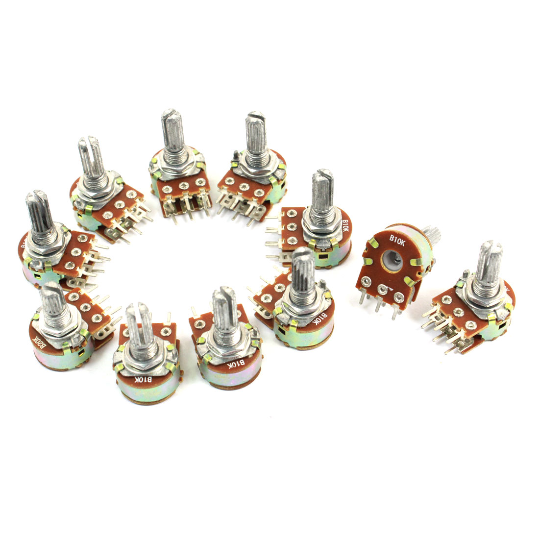 10 Pcs B10K Ohm Knurled Shaft Adjust Double Linear Potentiometers AC 250V
